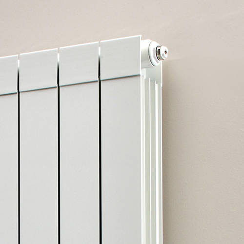 Additional image for Vertical Aluminium Radiator & Brackets 1446x420 (White).