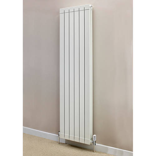 Additional image for Vertical Aluminium Radiator & Brackets 1846x500 (White).