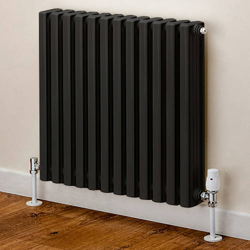 Additional image for Horizontal Aluminium Radiator 668x620 (Black).