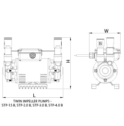 Additional image for STP-2.0B Twin Ended Shower Pump (2.0 Bar, Positive).