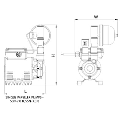 Additional image for SSN-2.0B Single Ended Shower Pump (2.0 Bar, Universal).