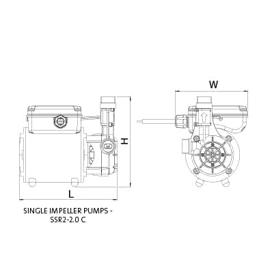 Additional image for SSR2-2.0C Single Ended Shower Pump (2.0 Bar, Positive).