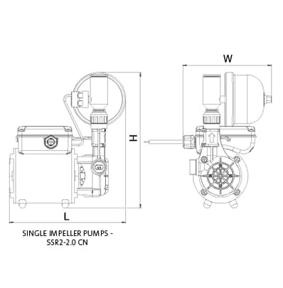 Additional image for SSR2-2.0CN Single Ended Shower Pump (2.0 Bar, Universal).