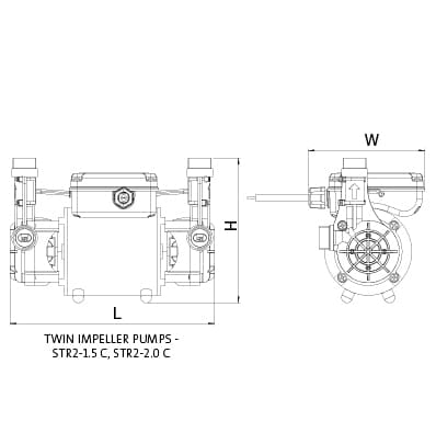 Additional image for STR2-2.0C Twin Ended Shower Pump (2.0 Bar, Positive).