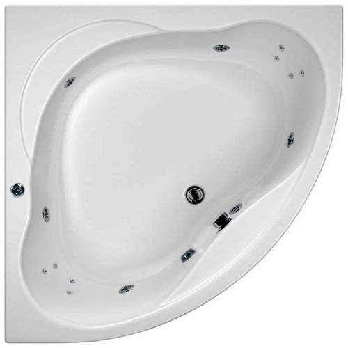 Additional image for Laguna Corner Whirlpool Bath With 14 Jets & Panel, 1200x1200mm.