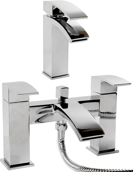 Additional image for Waterfall Basin & Bath Shower Mixer Tap Set (Chrome).