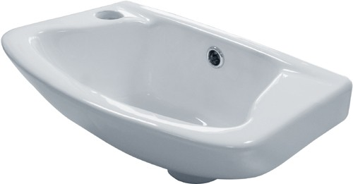 Additional image for Wall Hung Basin & Brackets (1 Tap Hole).  Size 360x262mm.