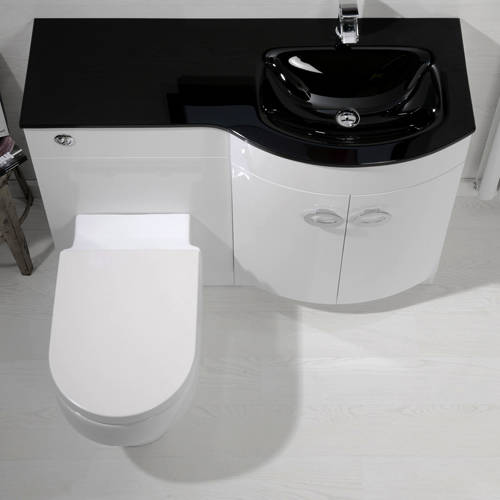 Additional image for Vanity Unit Pack With BTW Unit & Black Glass Basin (RH, White).