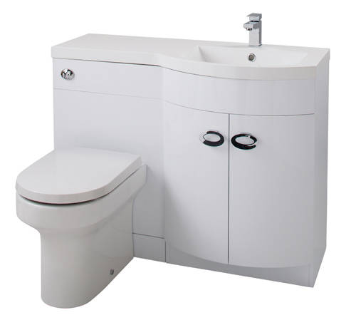Additional image for Vanity Unit Pack With BTW Unit & White Basin (RH, White).