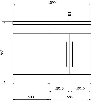 Additional image for L Shaped Vanity Pack With BTW Unit & Basin (RH, Medium Oak).