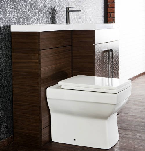 Additional image for L Shaped Vanity Pack With BTW Unit & Basin (RH, Walnut).