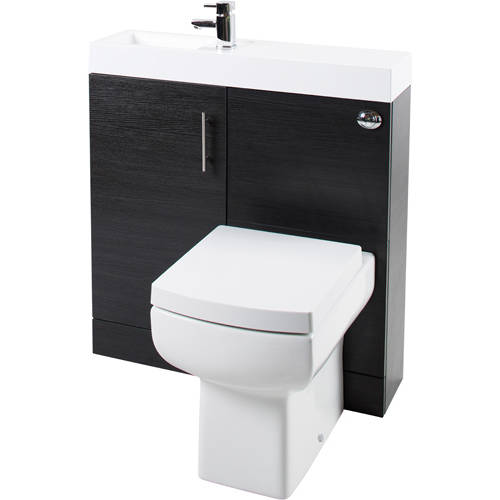 Additional image for Cube Plus Pack With Black Ash Vanity, BTW Unit & Basin (LH).