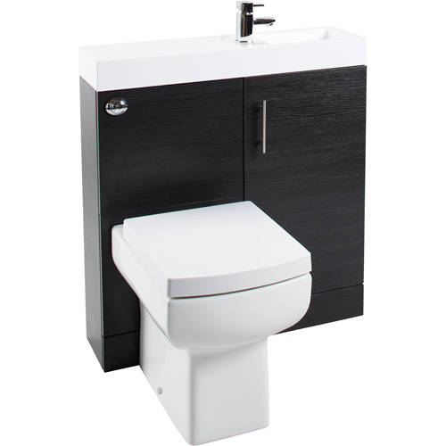 Additional image for Cube Plus Pack With Black Ash Vanity, BTW Unit & Basin (RH).