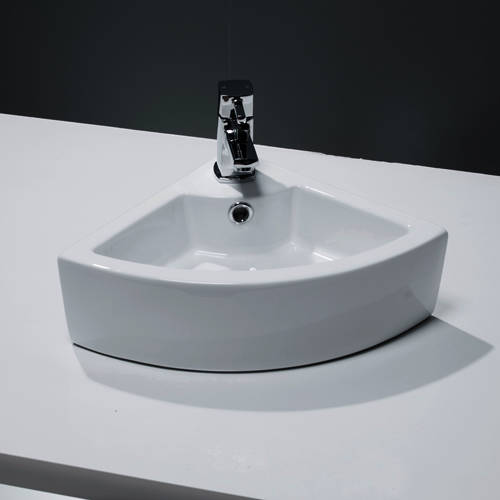 Additional image for Wall Hung Corner Cloakroom Basin 325x325mm (1 Tap Hole).