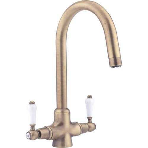 Additional image for Evie Pro Kitchen Tap With Twin Lever Controls (Antique Brass).