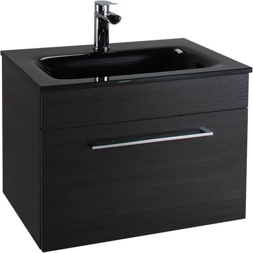 Additional image for 600mm Vanity Unit With Drawer & Black Glass Basin (Black).