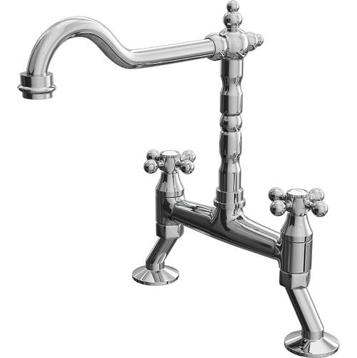 Additional image for Cranked Classic Kitchen Tap With Capstan Head Handles (Chrome).