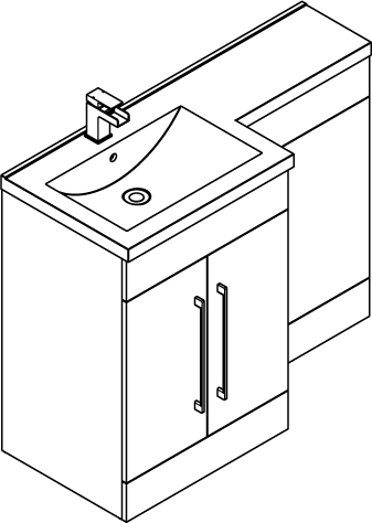 Additional image for L Shaped Vanity Pack With BTW Unit & Basin (LH, Gloss White).
