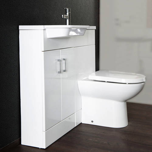 Additional image for Ria Combi Pack With Vanity, BTW Unit & Basin (LH, Gloss White).