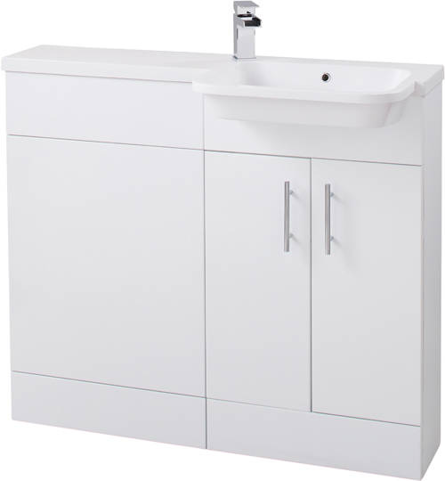 Additional image for Ria Combi Pack With Vanity, BTW Unit & Basin (RH, Gloss White).