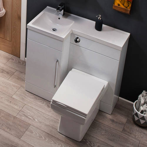 Additional image for Compact Vanity Pack With BTW Unit & Basin (LH, Gloss White).