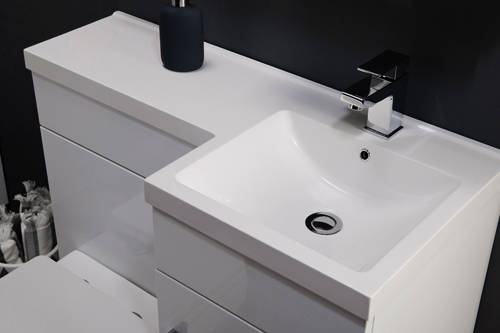 Additional image for Compact Vanity Pack With BTW Unit & Basin (RH, Gloss White).