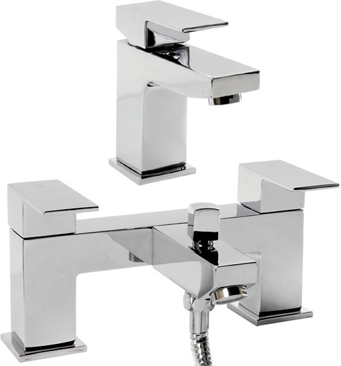 Additional image for Basin & Bath Shower Mixer Tap Set (Chrome).