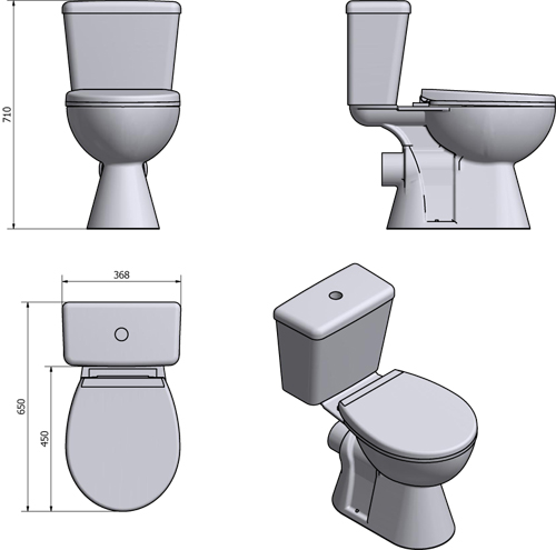Additional image for Unison Close Coupled Toilet With Cistern & Soft Close Seat.