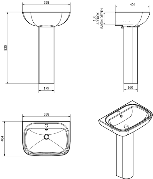 Additional image for En Suite Bathroom Pack With 800mm Quadrant Enclosure & Tray (6mm).