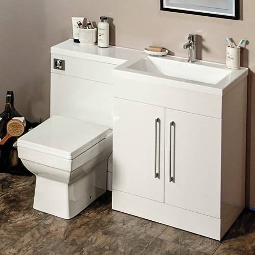 Additional image for L Shaped Vanity Pack With BTW Unit & Basin (RH, Gloss White).