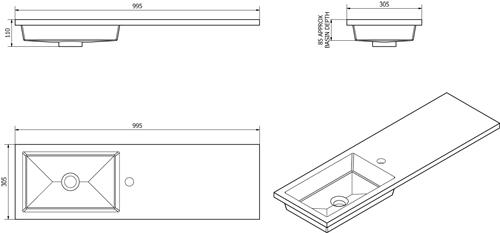 Additional image for Slimline Pack With Black Ash Vanity, BTW Unit & Basin (LH).