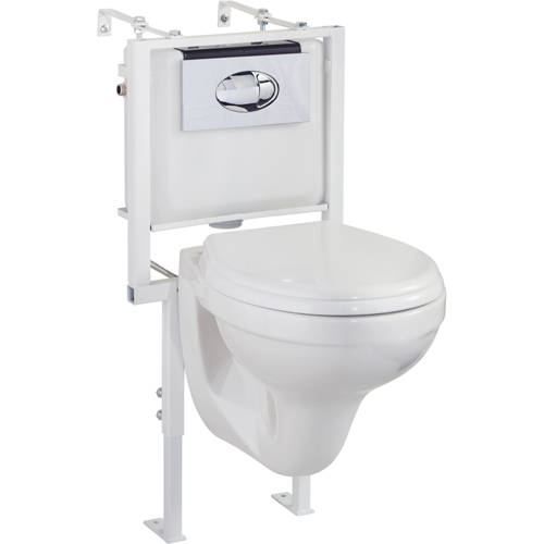 Additional image for Wall Hung Toilet Pan With Seat, Wall Frame, Concealed Cistern & Button.