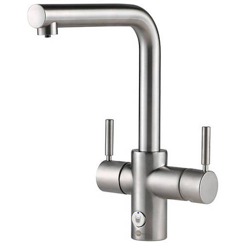 Additional image for 4N1 L Shape Steaming Hot Kitchen Tap (Brushed Steel).