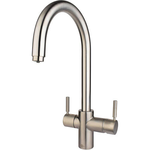 Additional image for 3N1 J Shape Steaming Hot Kitchen Tap (Brushed Steel).