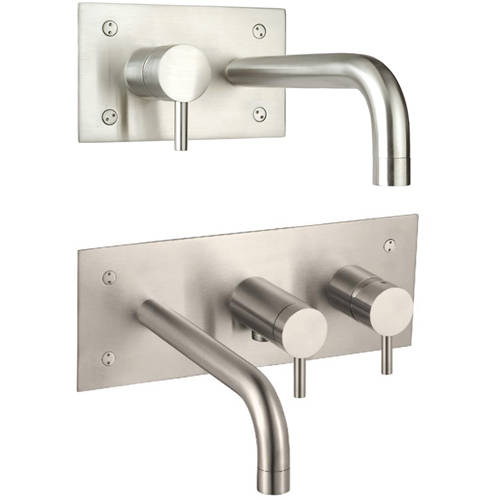 Additional image for Wall Mounted Basin & Bath Shower Mixer Tap Pack (Stainless Steel).
