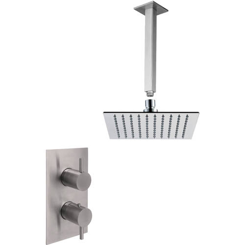 Additional image for Thermostatic Shower Valve, Ceiling Arm & Square Head (S Steel).