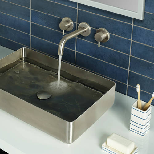 Additional image for Wall Mounted Basin Mixer Tap (Stainless Steel).