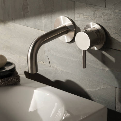 Additional image for Wall Mounted Basin Mixer Tap (155mm Spout, Stainless Steel).