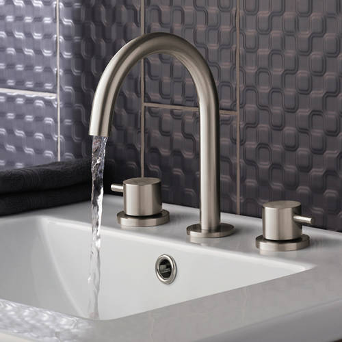 Additional image for Deck Mounted Basin Mixer Tap (3 Hole, Stainless Steel).