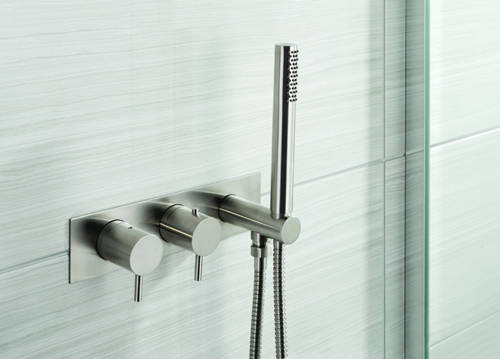 Additional image for Wall Mounted Bath & Shower Mixer Tap (2 Outlets, Stainless Steel).