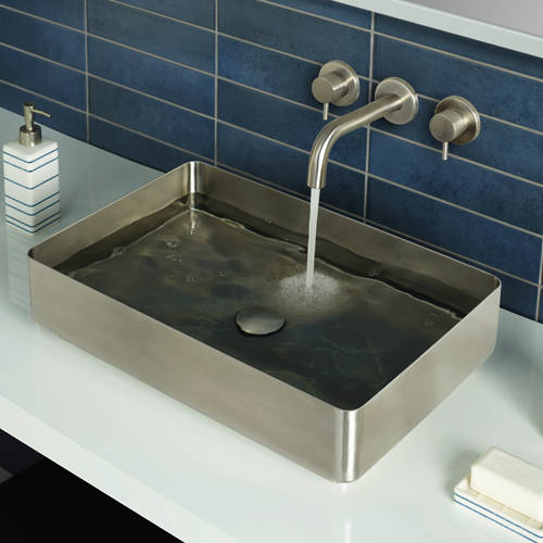 Additional image for Rectangular Counter Top Basin (520x340, Stainless Steel).