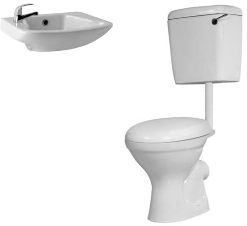 Additional image for Alpha Low Level Suite With Toilet Pan. Cistern & 1 Hole Basin.