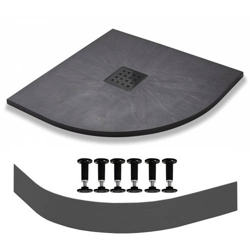 Additional image for Quadrant Easy Plumb Shower Tray & Waste 900mm (Graphite).