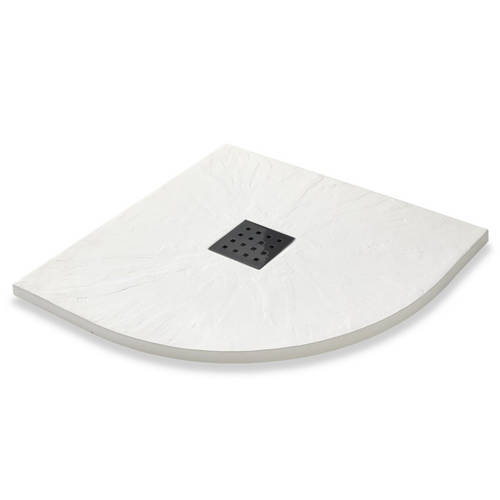 Additional image for Quadrant Shower Tray & Graphite Waste 900mm (White).