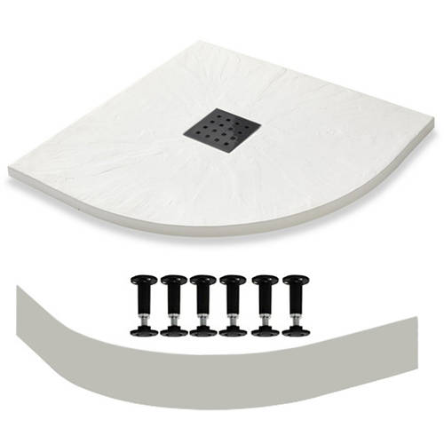 Additional image for Quadrant Easy Plumb Shower Tray & Waste 900mm (White).