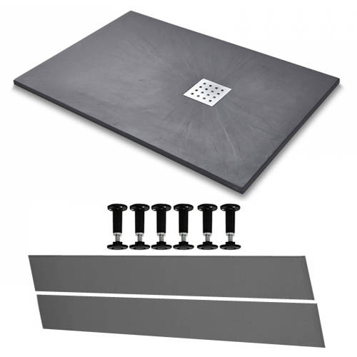 Additional image for Rectangular Easy Plumb Shower Tray & Waste 1200x800 (Graphite).