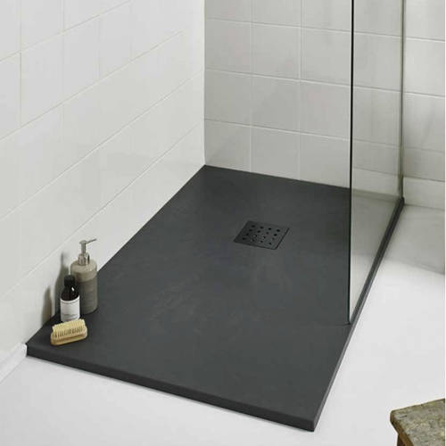 Additional image for Rectangular Shower Tray & Graphite Waste 1400x800 (Graphite).