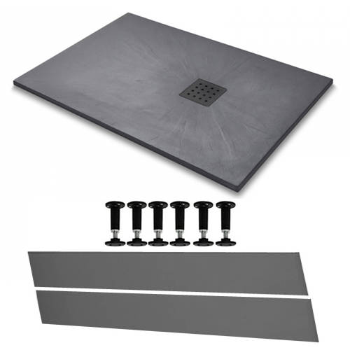Additional image for Rectangular Easy Plumb Shower Tray & Waste 1400x800 (Graphite).
