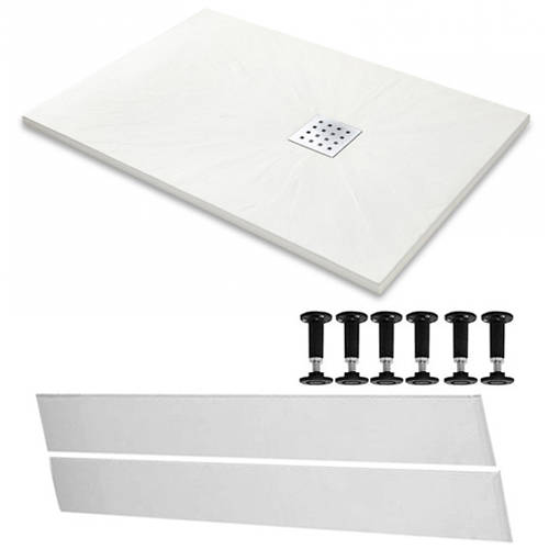 Additional image for Rectangular Easy Plumb Shower Tray & Waste 1400x800 (White).