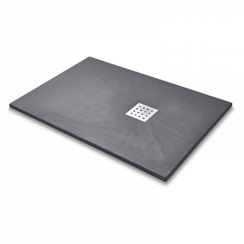 Additional image for Rectangular Shower Tray & Chrome Waste 1400x900 (Graphite).